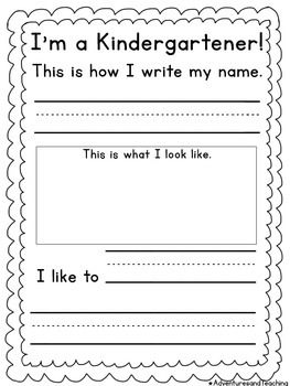 I'm A Kindergartener Back to School Writing FREEBIE
