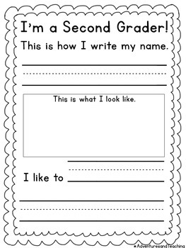 I'm A Second Grader Back to School Writing FREEBIE