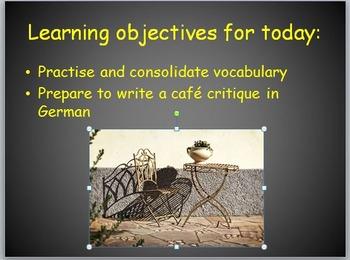 Im Café - preparing to write a café critique in German