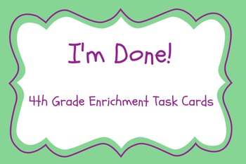 I'm Done! 4th Grade Language Arts Early Finisher Pack