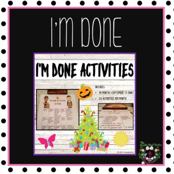 I'm Done Activities/Calendar Activities