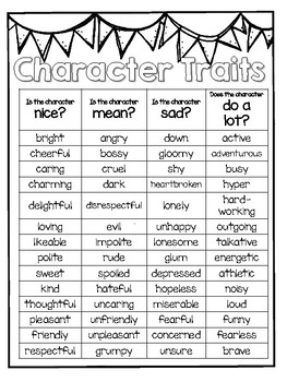 free character traits chart by pretty much primary tpt
