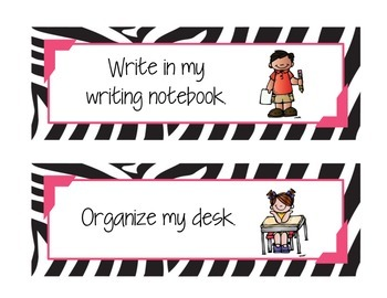 """""""I'm Done! Now What?"""" Classroom Reminder Sign - Zebra Print"""