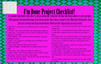 I'm Done Project Checklist