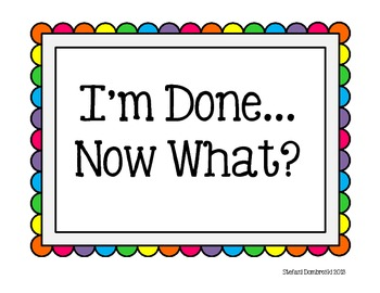 I'm Done...Now What? Early Finisher Cards