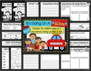 """""""I'm Going On A Family Vacation"""" Activity Pack"""
