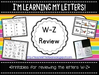 I'm Learning My Letters! {W-Z Review Packet}