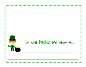 I'm One Lucky Kid St. Patrick's Day Writing