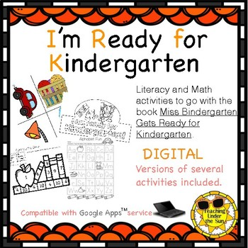 I'm Ready for Kindergarten; Paper and Digital, Back to School, First Day