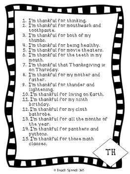 I'm Thankful For: TH Freebie