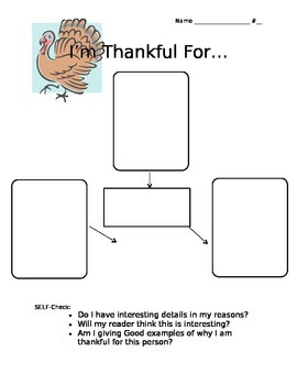 I'm Thankful For... Thanksgiving Writing Web and Paper