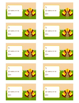"""Im Thankful For You!"" Thankful Turkey Gift Tags"