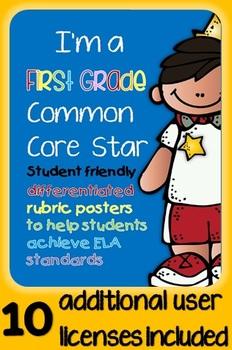 I'm a First Grade Common Core Star ELA Rubrics inc. licens