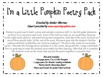 I'm a Little Pumpkin Poetry Pack