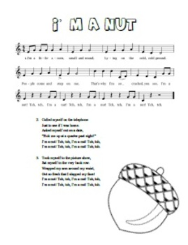 """""""I'm a Nut"""" Printable Song Sheet - Perfect for Fall!"""