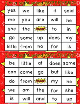 Kindergarten Sight Word BINGO