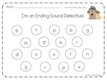 I'm an Ending Sound Detective! QR Code Activity: Ending Sounds