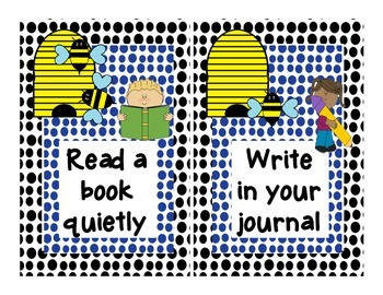I'm done, now what? ENGLISH and SPANISH chart for Early Finishers BEE theme