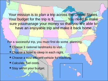 I'm going on a trip - Math Enrichment