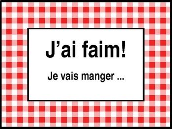 Nourriture Food I'm hungry / J'ai faim vocabulary activity