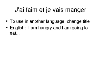 Nourriture Food I'm hungry / J'ai faim vocabulary activity