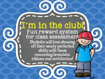 I'm in the club! - Fun assessment reward bracelets, ribbon