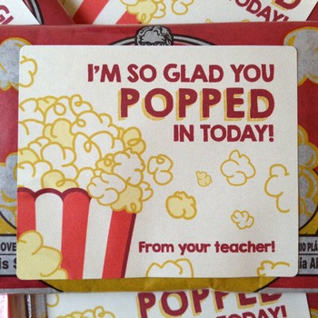 I'm so glad you popped in today! - Movie Themed Popcorn Labels - Open House