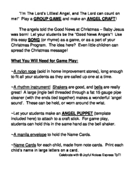 """I'm the Lord's Littlest Angel!"" - Christmas Group Game, Song, and Craft"