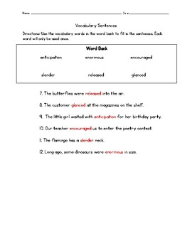 Ima and the Great Texas Ostrich Race Vocabulary Test