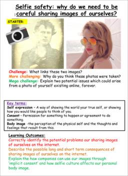 Image Sharing + Selfies Worksheets