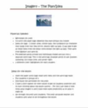 Imagery Lesson with prezi and worksheet - Grades 4-8