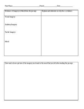Imagery & Mood Worksheet with Example