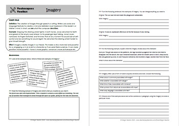 Imagery – Techniques Toolkit – Worksheet and PowerPoint