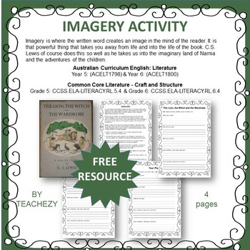 Imagery Writing Activity for Years 5 & 6