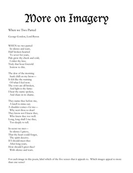 George Gordon, Lord Byron Explains Imagery: A Poetry Comic : Activities Included
