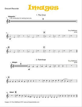 """""""Images"""" for Solo Recorder and Piano"""