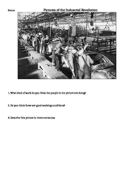 Images of the Industrial Revolution with Writing Prompts