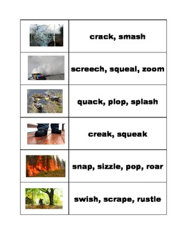 Images to Encourage Onomatopoeia Brainstorming