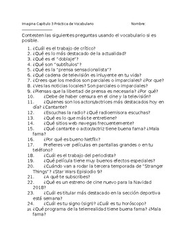 Imagina Chapter 3 Vocabulary Practice