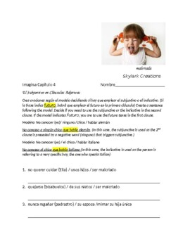 Imagina Chapter 4 Practice - Subjunctive in Adj Clauses w/ verbs from chapter