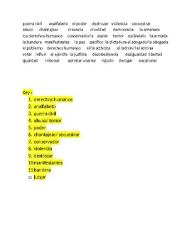 Imagina Chapter 6 Vocabulary Fill-In