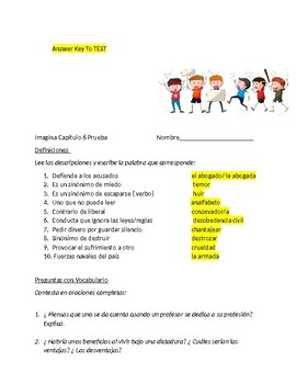 Imagina Chapter 6  Exam -  Vocabulary and Subjunctive in Adverbial Clauses