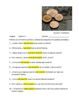 Imagina Chapter 7 Practice for Present Perfect Subjunctive reviewing Pres. Perf.