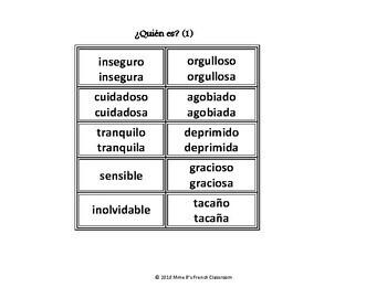 Imagina Lección 1: ¿Quién es? A speaking game using ser, estar and adjectives