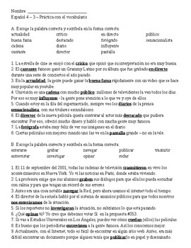 Imagina ch. 3 vocabulary practice sheet - Spanish 4
