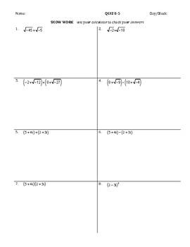 Imaginary & Complex Numbers QUIZ
