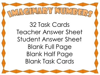 Imaginary Number {32 Task Cards}