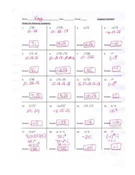 Imaginary Number & Radicals Practice Worksheet With Scrambled Answers