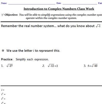 Imaginary Numbers Mini Unit Bundle Common Core Aligned