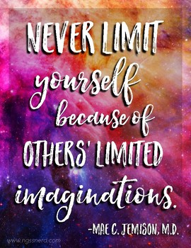 Never Limit Yourself Quote on Galaxy Background